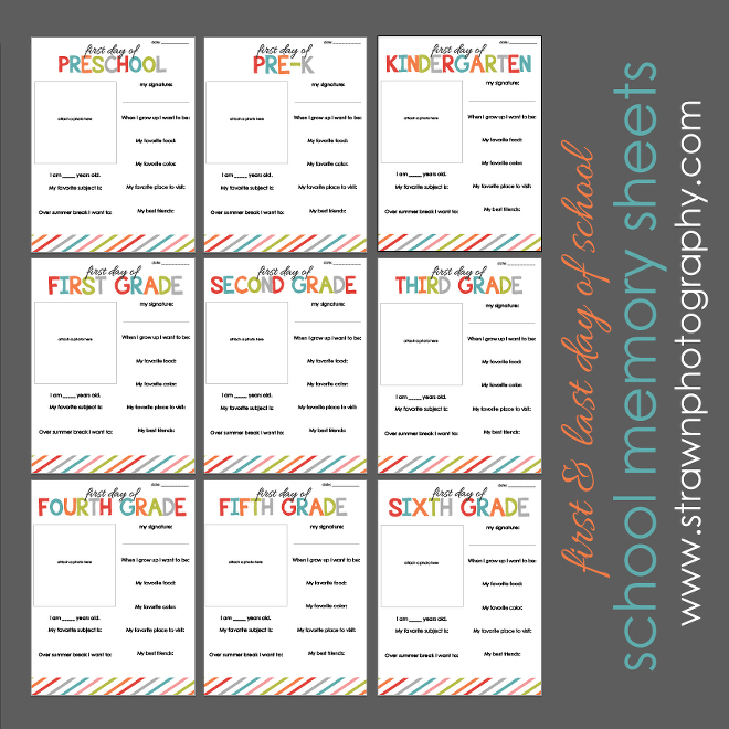 school memory sheet bundle 2