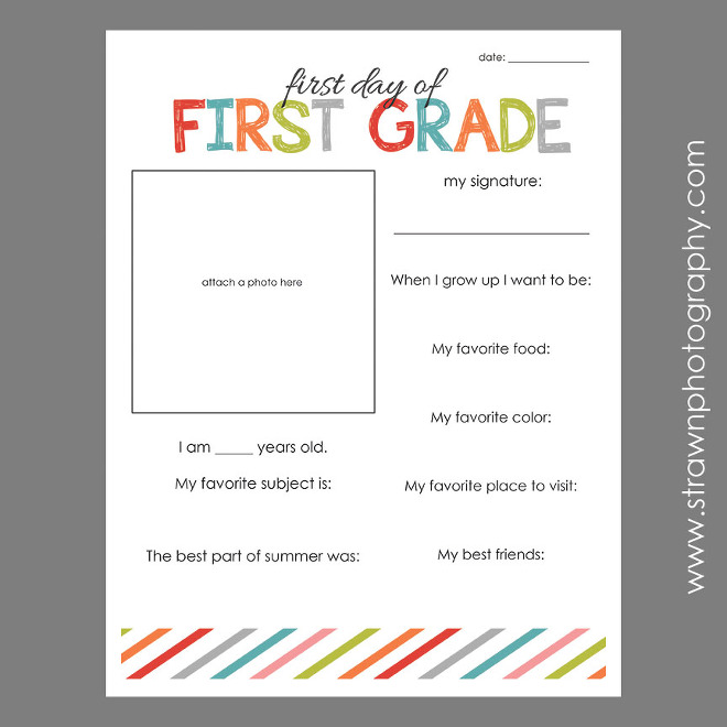 First Day of School FREE PRINTABLE Emily Strawn Photography – First Day of School Worksheet