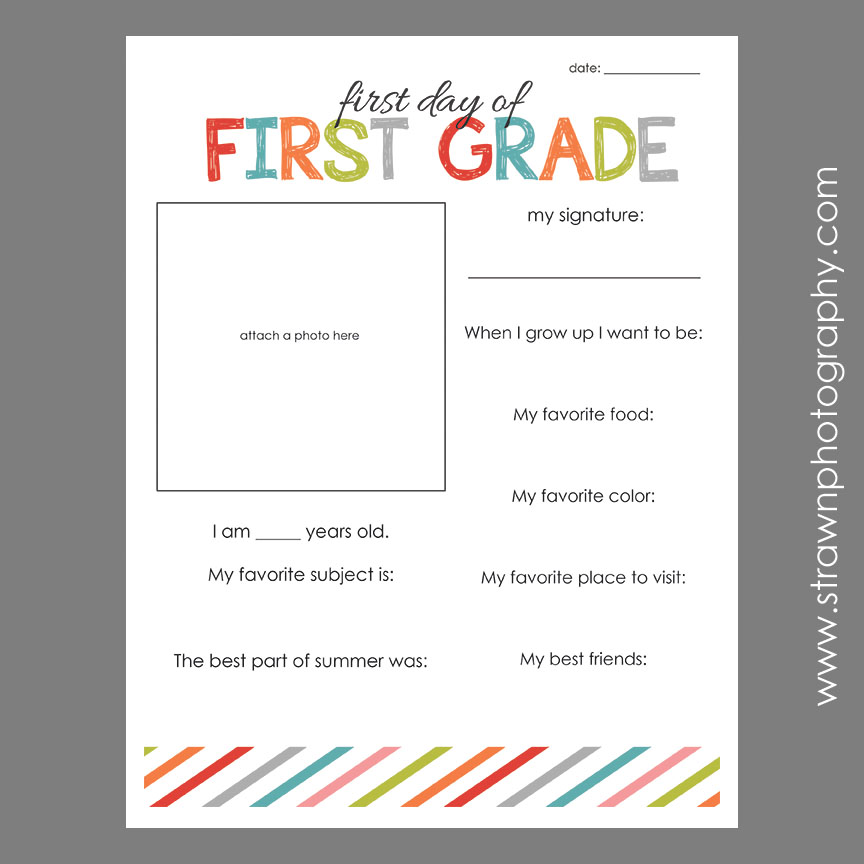 First Day of School – FREE PRINTABLE » Emily Strawn Photography